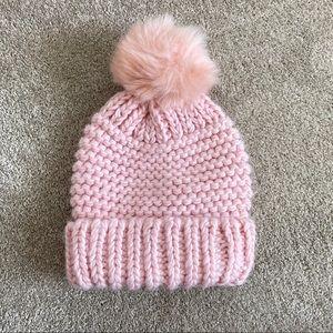 Free People pink chunky beanie pompom hat